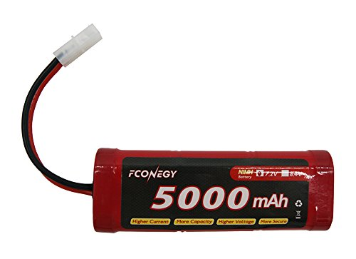 Fconegy NiMH Battery 7.2V 5000mAh Flat Pack with Tamiya Plug for RC Cars/RC ()