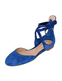 YDN Womens Round Toe Ballet Lace-up Casual Flats Faux Suede Comfy Walking Shoes