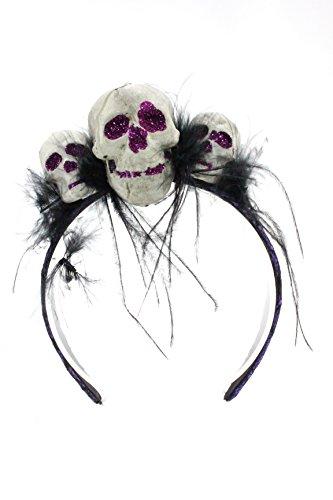 Bauer Pacific Women's Glitter Skull Trio Lace Feather Halloween Headband (Purple)