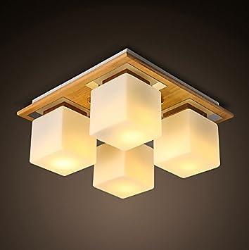 HHCH Lámpara de Techo Modern Minimalista Salón de Madera ...