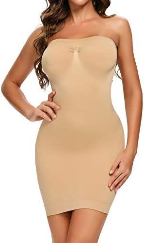 Strapless Shapewear Slip for Under Dresses Tummy Control Womems Full Slip Body Shaper Seamless