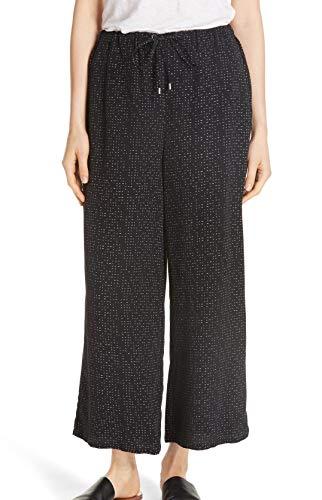 Eileen Fisher Womens Dash Polka Dot Crop Wide Pants Black XL