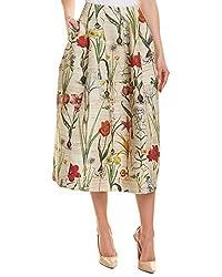 Oscar De La Renta Womens Silk Wool Blend A Line Skirt 8 Brown