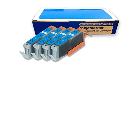 Cyan Compatible Ink (Inkjetcorner 4 Pack CYAN Compatible Ink Cartridge Replacement for Canon CLI-251XL CLI-251 Pixma MG5420 MG5422 MG5520 MG5620 MG6320 MX722 MX922 MG6420 MG6620 MG5522 MG7120 MG7520 with CHIP)