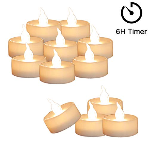 12 Tea Lights Led Flickering with Timer (6 hours on, 18 hours off), Mini Flameless Candles Tea Lights Battery Operated Flickering Warm White for Wedding Reception Christmas Party Halloween Decorations