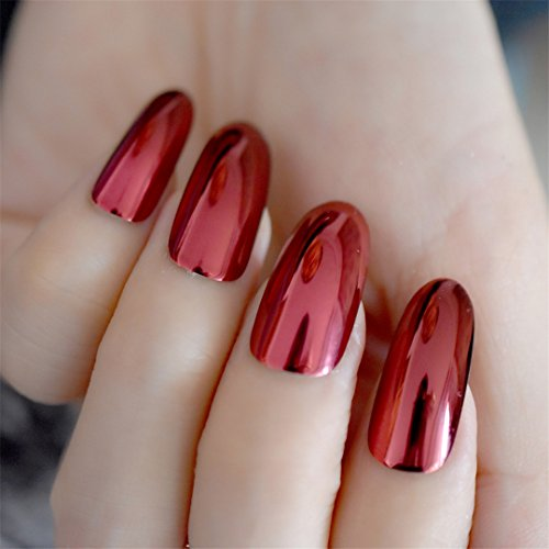 Gorgeous Mirror Acrylic Nails Red Wine Round Extra Long False Nails Metallic Style Nail Tips 24Pcs/Kit Easy To Use (Red Wine Halloween Punch)