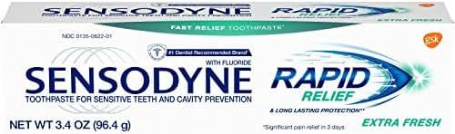 Sensodyne Rapid Relief Sensitivity Toothpaste for Sensitive Teeth, Extra Fresh, 3.4 Ounce