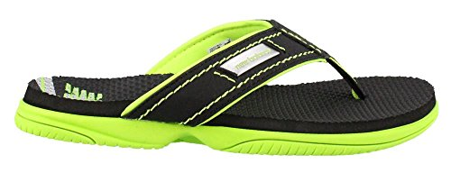 Kids Thongs (New Balance Boys' Mojo Thong Flip Flop, Black/Lime, 6 M US Big Kid)