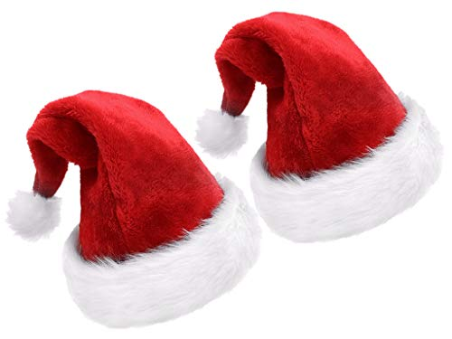 Kinteshun Children Christmas Santa Hat,Kids' Double-Layered Luxury Plush Christmas Santa Claus Xmas Cap Hat(2pcs) -