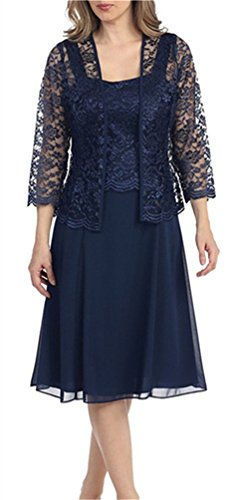 H.S.D Womens Lace Mother of the Bride Dress Formal Gowns with bolero Navy Blue