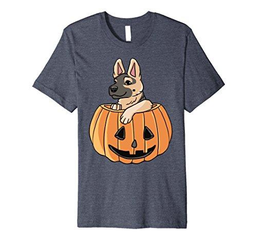 Mens Halloween German Shepherd Shirt - Cute Dog Costume Idea Medium Heather Blue