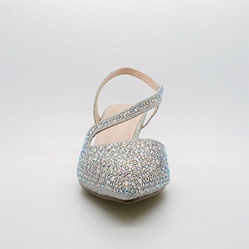 London Footwear - talón abierto mujer plata