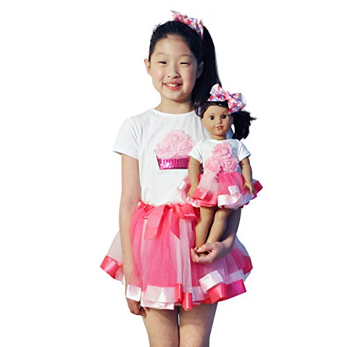 ZITA ELEMENT 2 Sets Clothes and Hair Accessories for American 18 Inch Girl Doll Matching Girls Outfits - 2 Cotton Shirt, 2 Tutu & 2 Hair - Tutu Clip