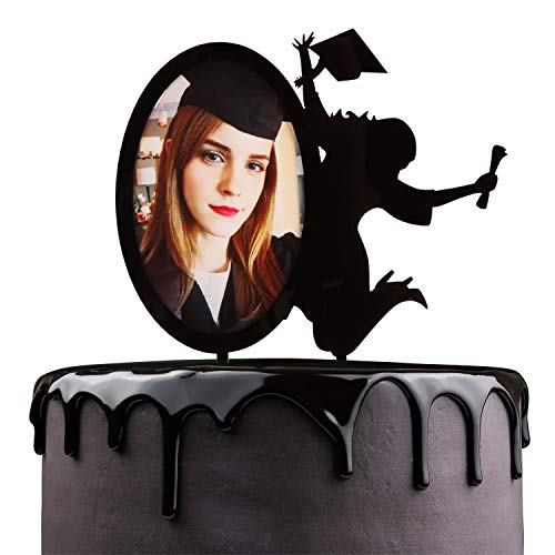 Congrats Grad Cake Toppers - Black Acrylic With Photo Frame Cake Picks Décor - Academy Students College Graduate Party Supplies - Chic Insert Silhouette A Girl Cheers To Graduate Decorations ()