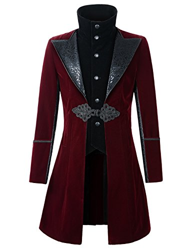 DarcChic Mens Velvet Gothic Leather-Lapel Trench Coat Steampunk Victorian (M, Burgundy)