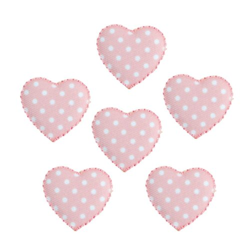 Expo Iron-on Embroidered Applique Patches, BaZooples Puffy Heart, 6-Pack