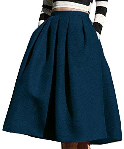 Face N Face Women's High Waisted A line Street Skirt Skater Pleated Full Midi Skirt Large Navy - Navy A-line