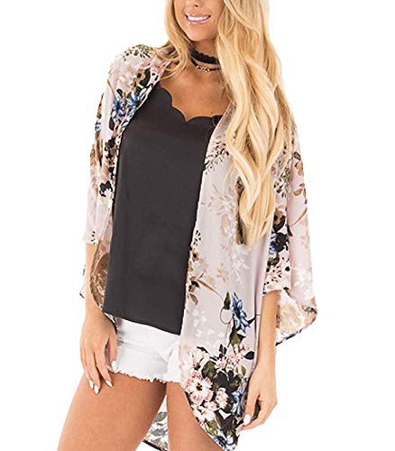 - Women's 3/4 Sleeve Floral Kimono Cardigan, Sheer Loose Shawl Capes, Chiffon Beach Cover-Up, Casual Blouse Tops (L-Beige, Medium)