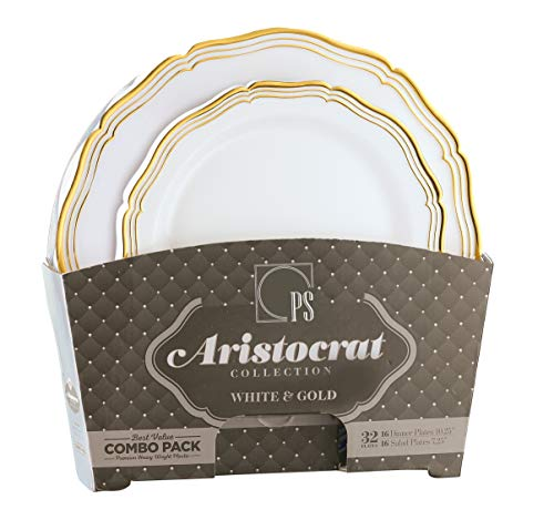 Gold Plastic Plates, White and Gold Plastic Disposable Dinnerware, Gold Rim Wedding Party Plates Includes 16 Dinner Plates & 16 Dessert Plates - Posh Setting ()