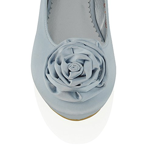 ESSEX GLAM New Womens Flat Pumps Satin Flower Bridal Ladies Party Ballerina Dolly Shoes Silver Satin iQ8Ne4D0