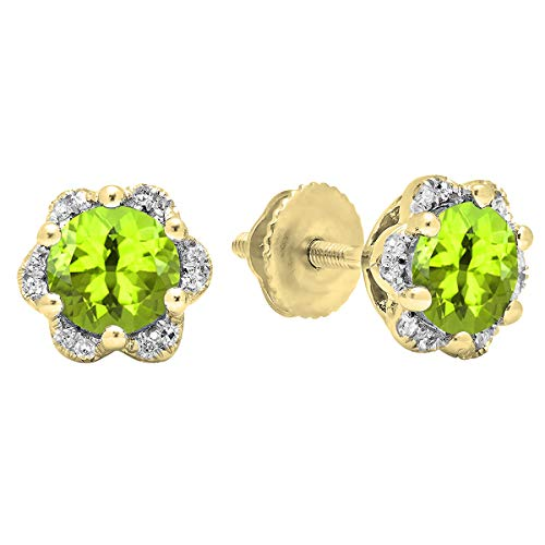 Dazzlingrock Collection 10K Round Cut Peridot & White Diamond Ladies Flower Shape Cluster Fashion Stud Earrings, Yellow Gold