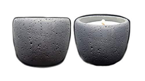 Der Perlenspieler® - Handmade in Germany-Kerzenschmelzer-Stone-Tischlicht aus reinem Beton-Indoor Outdoor-Elegantes Design-Rund-12,5 cm x 12,5 cm