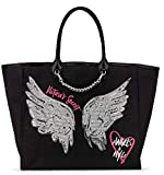 RARE - VICTORIA SECRET HUGE CITY TOTE BLACK AND RHINESTONE STUDDED BEACH BAG TOTE BAG. ANGEL WINGS SOLD OUT
