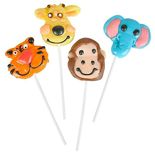 """2"""" Zoo Animal Lollipops - Pack of 12 Assorted Fruit-Flavored Candy Suckers for Party Favors, Cake Decorations, Novelty Supplies or Treats for Halloween, Christmas, Baby Showers"""
