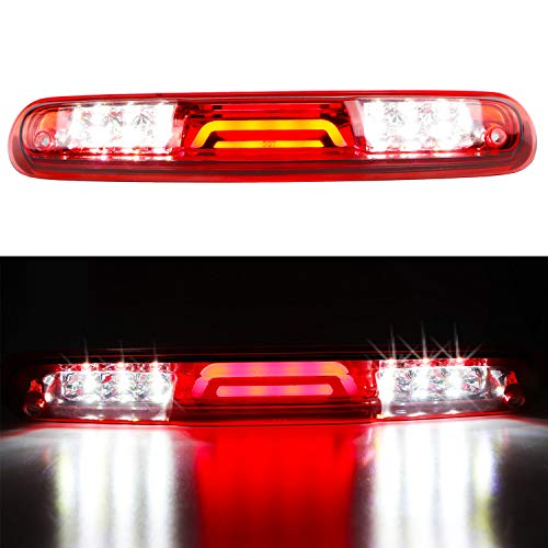 For 2007-2013 Chevy Chevrolet Silverado/GMC Sierra 3D LED Bar 3rd Third Tail Brake Light Rear Cargo Lamp High Mount Stop light Electroplating Housing (Red)