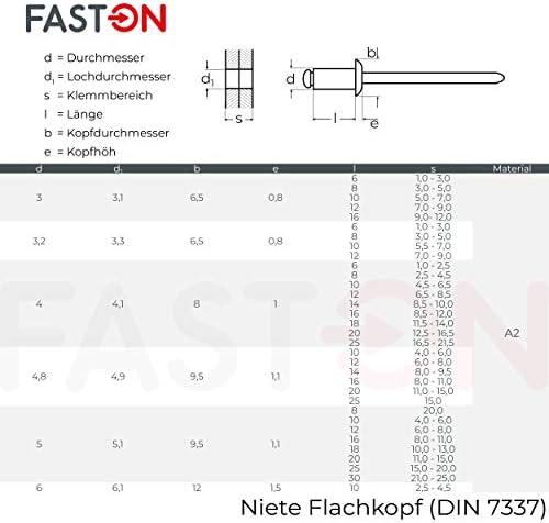 FASTON Blindniet 4,8x12 mm mit Flachkopf Edelstahl A2 V2A 50 St/ück DIN 7337 Nieten Niet Popnieten Flachkopfnieten rostfrei