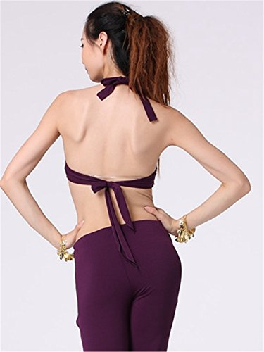 Danza del vientre Disfraz Set Tribal Sling bordado Top+Exotic Split Falda morado