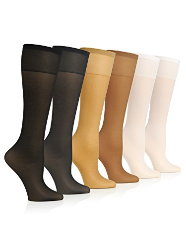 Sunny Socks Women's Spandex Silky-Sheer Extra Support Trouser Knee High With Sandalfoot - 6 Pack, Assorted, Regular (Lycra Womens Stocking)