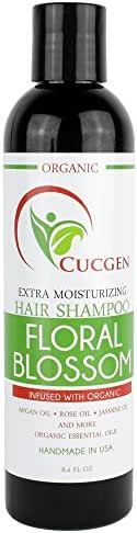 CUCGEN USA Handmade Extra Moisture Hair Shampoo - Infused with 9 Organic Oils - Argan, Rose, Jasmine, Geranium, Rosehip, Sandalwood & More - All Hair Types - Especially Dry, Brittle or Damaged Hair