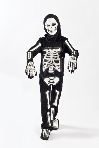 MONIKA FASHION WORLD Skeleton Costume for Boys Kids Light up Halloween Size M (5-7) L (6-9) M 5-7 Black]()