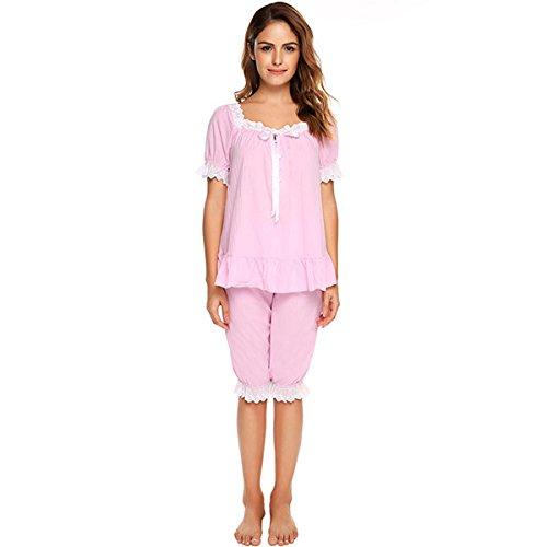 WDDGPZSY Camisa De Dormir/Camisón/Ropa De Dormir/Pijamas/Vintage Pijama Conjunto Mujeres Encaje Patchwork Ropa De Dormir De Manga Corta Ropa De Dormir ...
