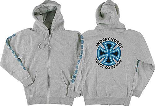 Cross Grey Heather/Blue Zip-Up Hooded Sweatshirt - Medium ()