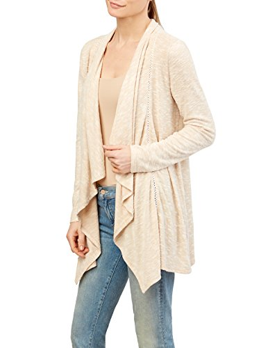 89th + Madison Women's Marled Knit Draped Open Front Woven Trim Cardigan - Marled Knit Cardigan