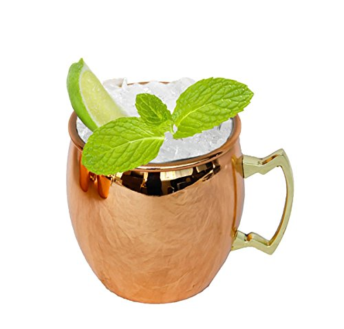 (CHEFHUB Moscow Mule Mugs,Copper Cups Mugs,Drinking Mugs 18 ounce Capacity Drinking Cups For Cocktails & Cold Beverages - Solid Copper Plated 100% Handcrafted With Stainless Steel Lining)