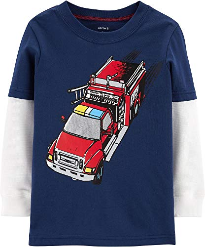 Carter's Toddler Boys Fire Truck Long Sleeve T-Shirt 2T Navy Blue/White