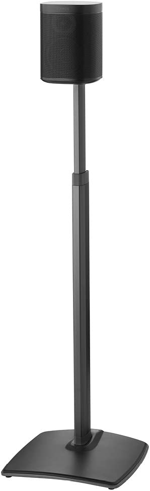 "Sanus Adjustable Height Wireless Speaker Stands Designed for SONOS ONE, ONE SL, Play:1, and Play:3 - Tool-Free Height Adjust Up to 16"" with Built in Cable Management - Single Black"