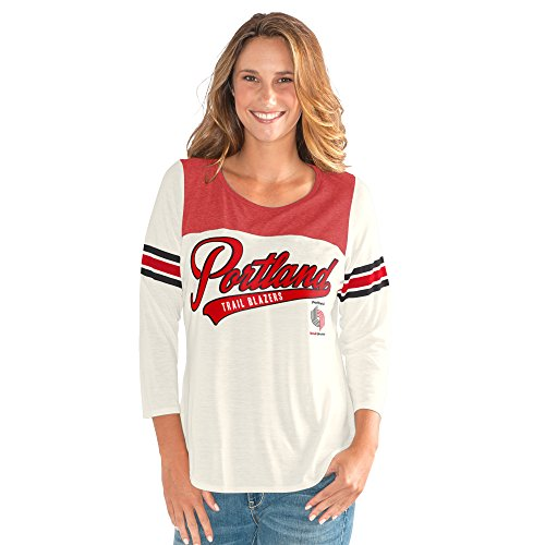 - GIII For Her NBA Portland Trail Blazers Women's End Zone 3/4 Sleeve Tee, Medium, Vintage White