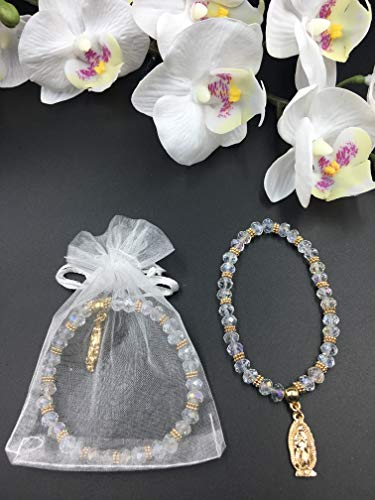 12 PCS Crystal Lady Guadelupe Rosary Bracelet Silver With Organza Bags - Baptism Favor/Christening Favor/Recuerdos de Bautizo/Quinceanera/Baby Shower]()