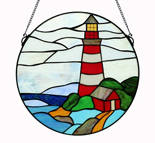 Yolic 16 Inch Round Stained Glass Window Hanging Pagoda and Lighthouse Tiffany Stained Glass Window Panel with Hanging Chain