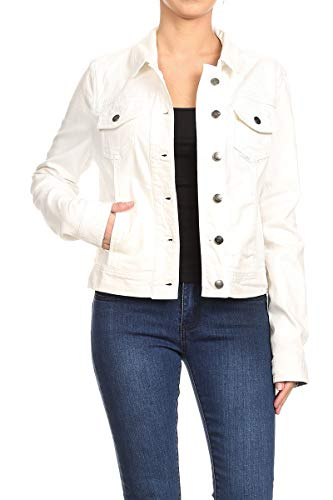 Women's Juniors Premium Stretch Denim Long Sleeve Jacket in White Size S (Premium Denim Womens Jackets)