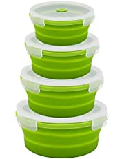 URBEST Collapsible Bowls, Silicone Food Storage Containers with Lids for Camping, Set of 4 Round Silicone Lunch Containers, Microwave and Freezer Safe