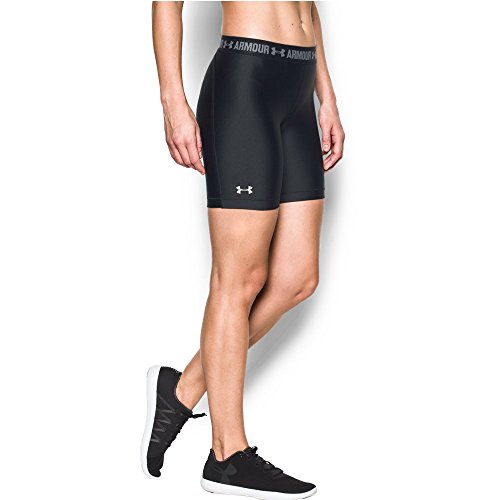 Under Armour Women's HeatGear Armour Long Short, Black/Black, Large