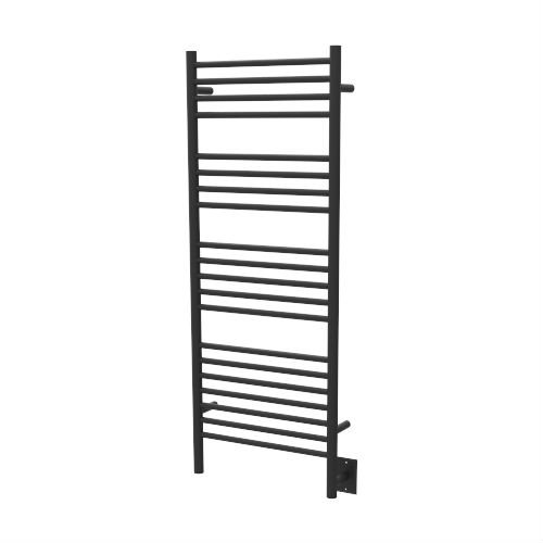 Quality Brand Company QBC Bundled Amba Heated Towel Warmers - Jeeves - DSMB Model D Straight - Matte Black Finish 20.5 in W x 53 in H - 240 Watts 2.2 Amps - Plus Free QBC Towel Warmer Guide