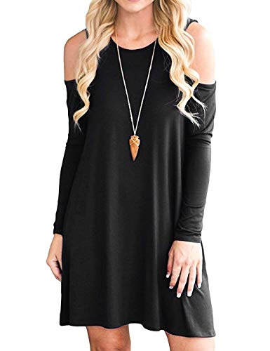 Aifer Womens Cold Shoulder Tunic Top Loose Casual Swing T-Shirt Dresses with Pockets