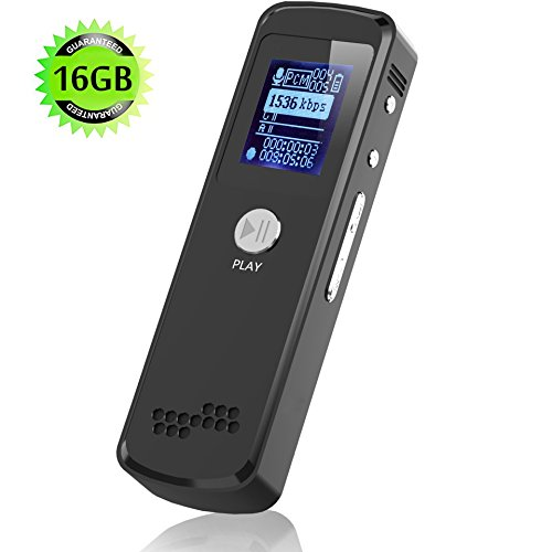 Digital Voice Recorder,16G Portable Mini Slim Multifunctional Audio Dictaphone for Lectures and Meetings with Double Microphone,Noise Reduction Audio,HD Recording, WAV,MP3,PCM, USB - Wav Recorder