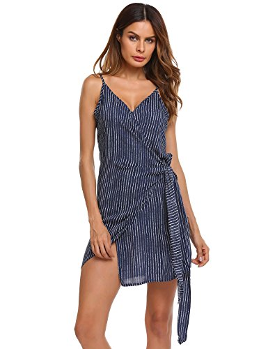 Hersife Women's Split Front Spaghetti Strap Striped Tie-Waist Short Wrap Dress (Dress Tie Wrap)